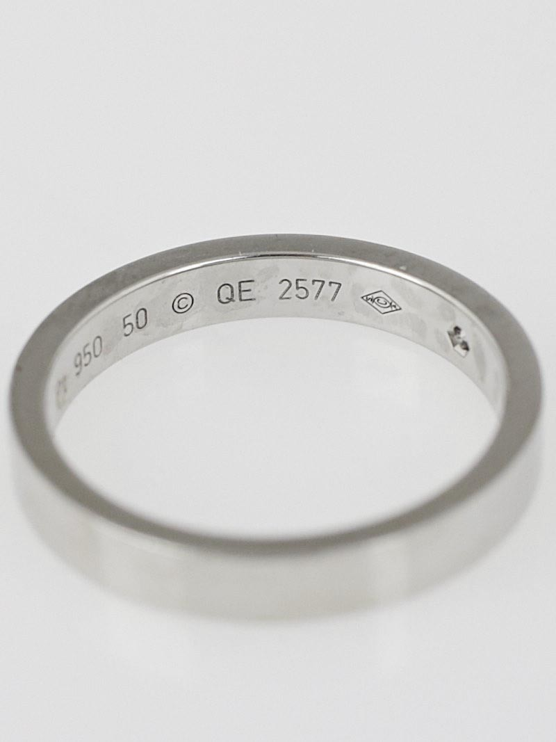 cartier platinum and engraved wedding band size 50