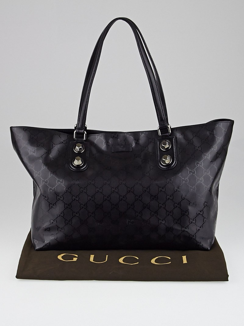 gucci black gg imprime coated canvas metal stud tote bag yoogi 39 s closet. Black Bedroom Furniture Sets. Home Design Ideas