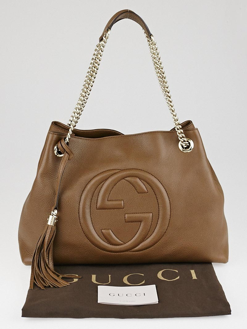 gucci brown pebbled calfskin leather soho chain tote bag yoogi 39 s closet. Black Bedroom Furniture Sets. Home Design Ideas
