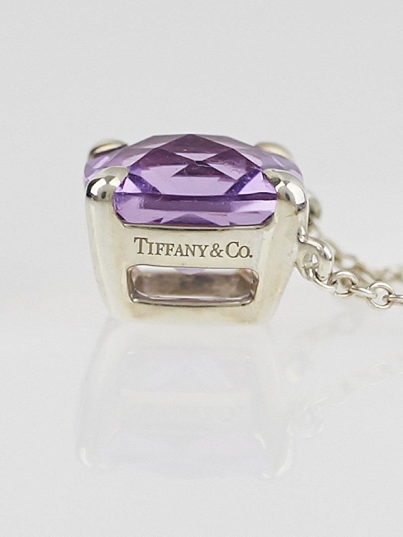 tiffany  u0026 co  sterling silver and amethyst sparklers pendant necklace