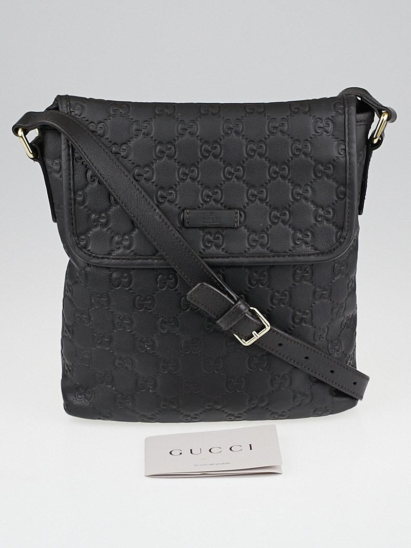 gucci black guccissima leather small messenger bag yoogi 39 s closet. Black Bedroom Furniture Sets. Home Design Ideas