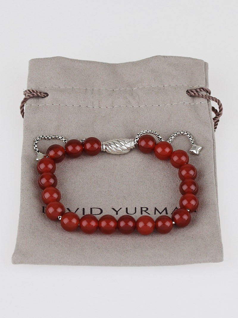 David yurman 8mm carnelian spiritual beads adjustable for David yurman like bracelets