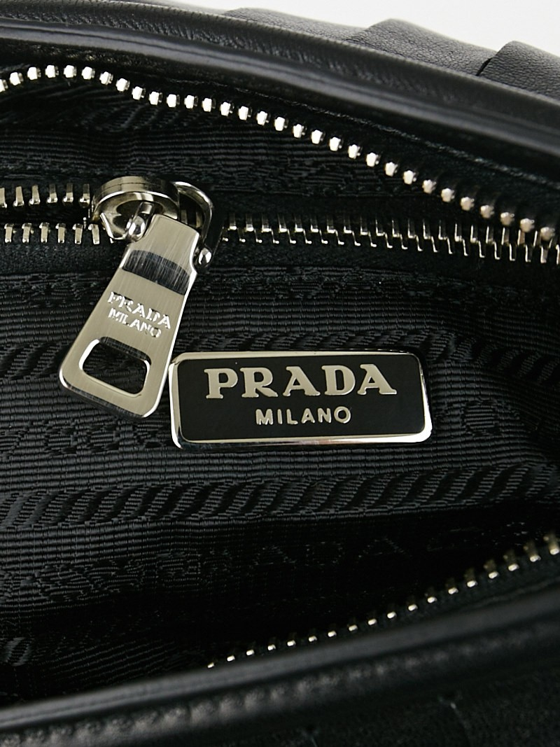 prada saffiano lux tote bag blue - Prada Black Leather Studded Fringe Wristlet Clutch Bag 1N1735 ...