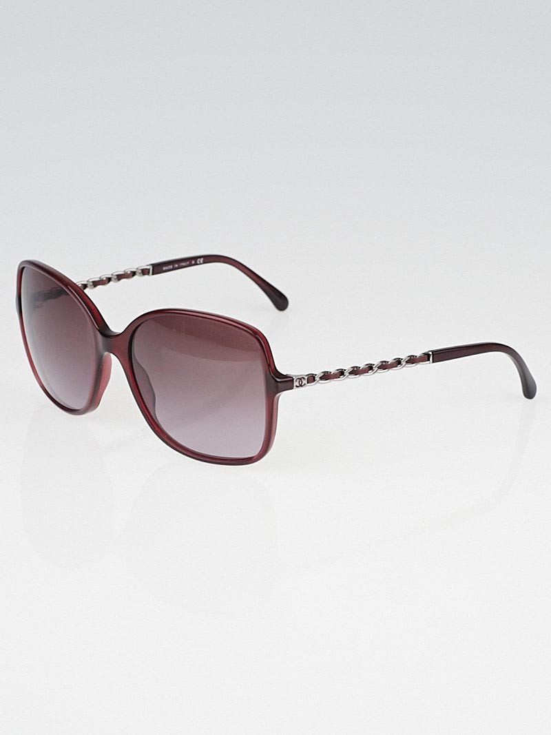 Chanel Red Frame Gradient Tint Chain-Link Sunglasses ...