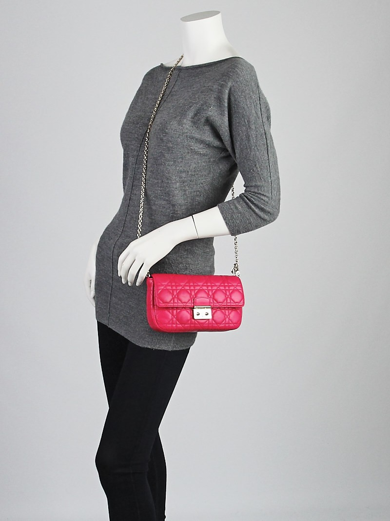 Christian Dior Fuchsia Cannage Quilted Lambskin Leather ...