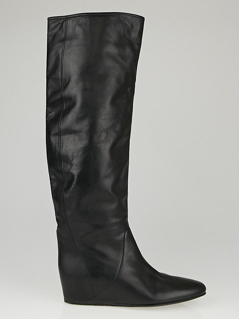 lanvin black leather knee high boots size 9 39 5 yoogi s