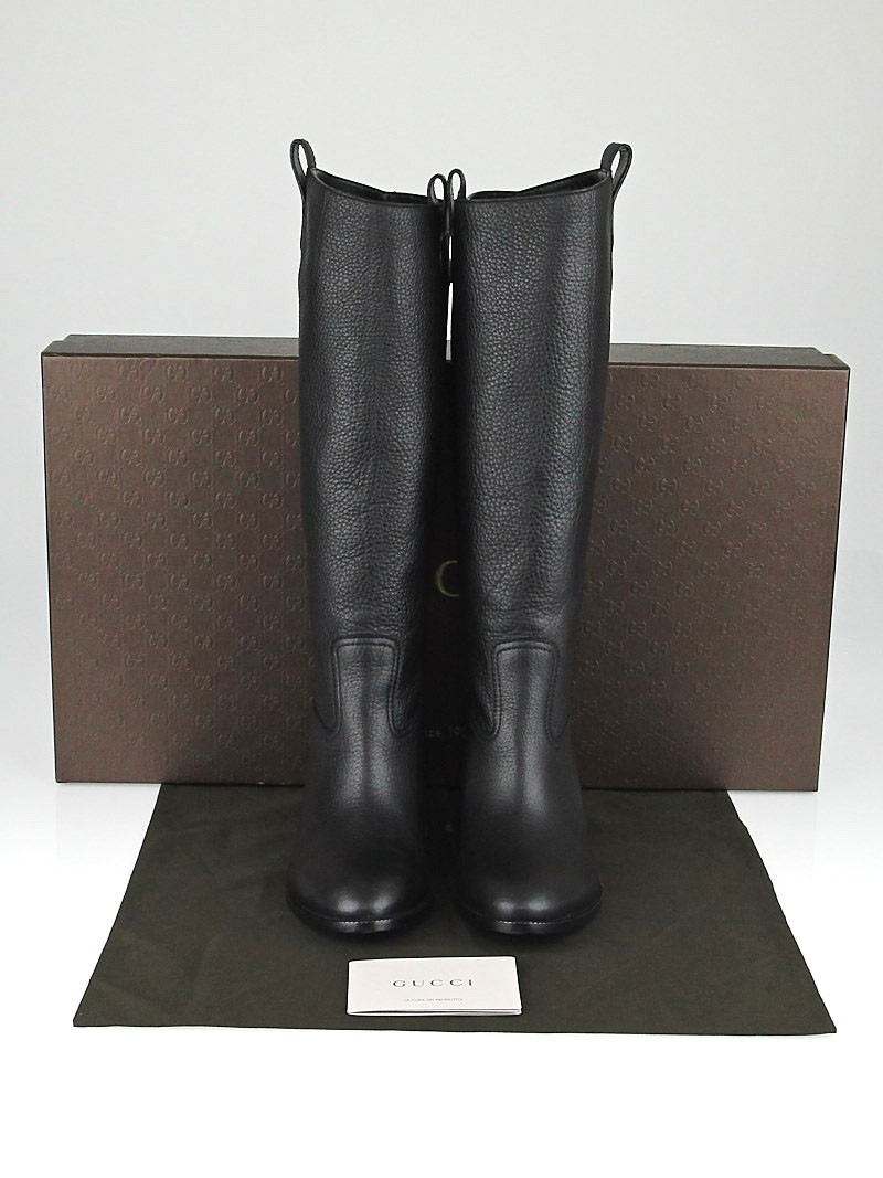 gucci black pebbled leather flat boots size 9 5 40