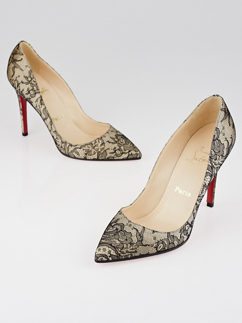 593a2c6315 Christian Louboutin Nude/Black Satin Lace Pigalle 100 Pumps Size .