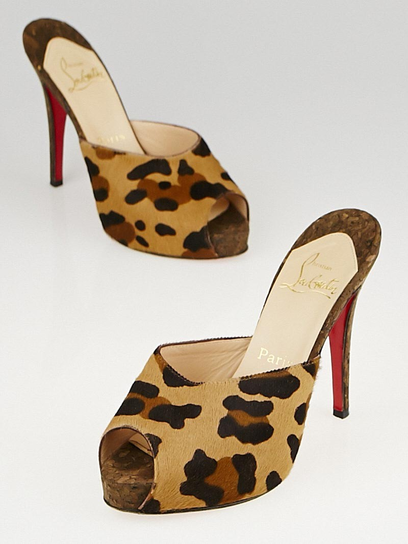 Artesur ? christian louboutin slide sandals Tan and brown ponyhair ...