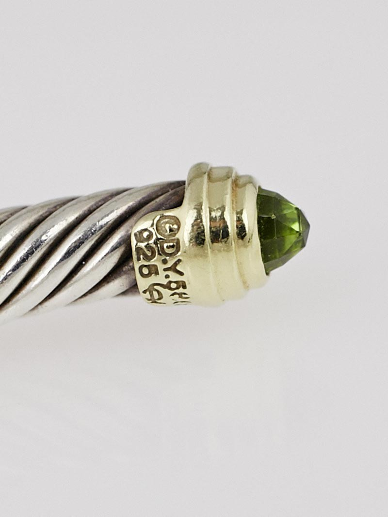 David yurman 5mm sterling silver and 14k gold peridot for David yurman inspired bracelet cable