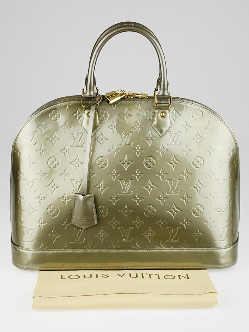 Louis vuitton vert olive monogram vernis alma gm bag for Louis vuitton miroir alma bag price