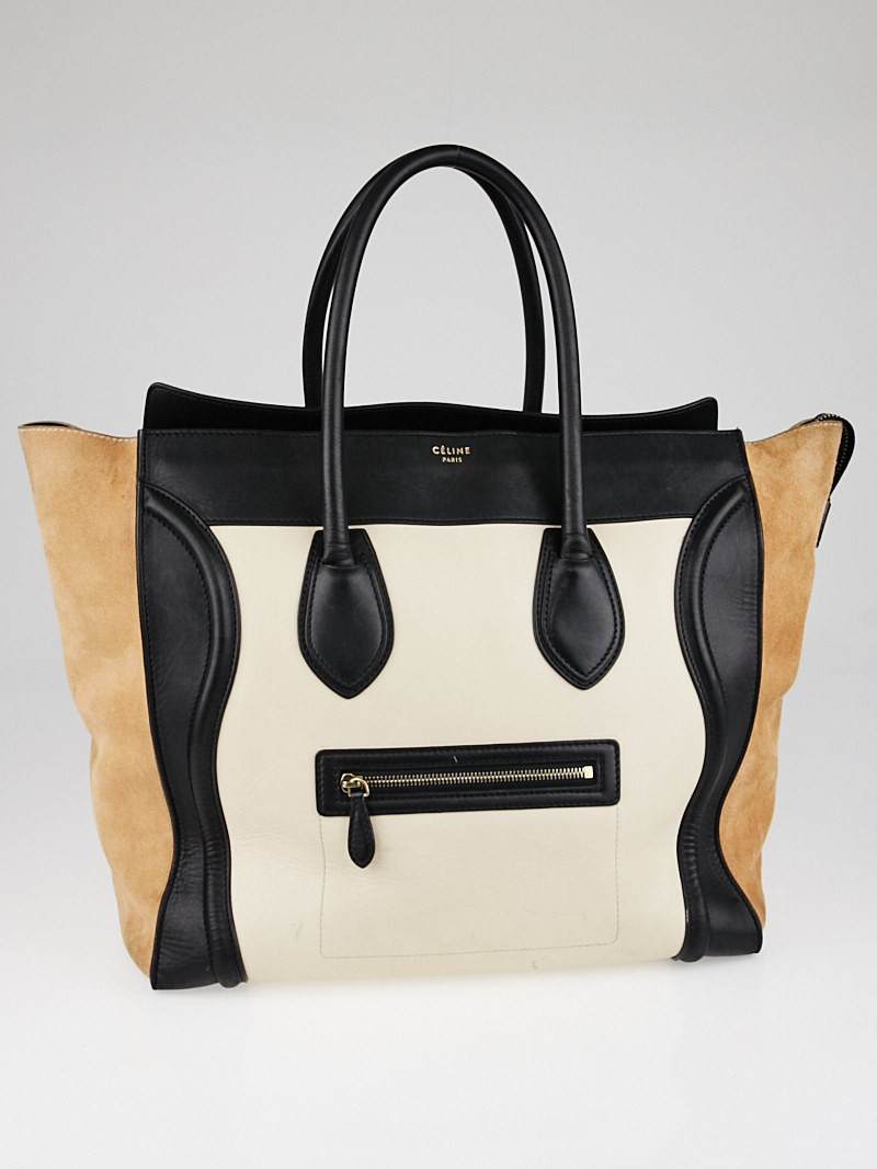 celine tricolor leather and suede leather large luggage tote bag