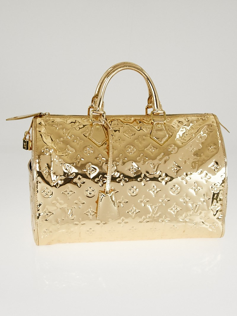 Louis vuitton limited edition gold monogram miroir speedy for Louis vuitton gold miroir