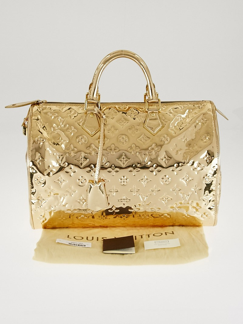 Louis vuitton limited edition gold monogram miroir speedy for Louis vuitton monogram miroir