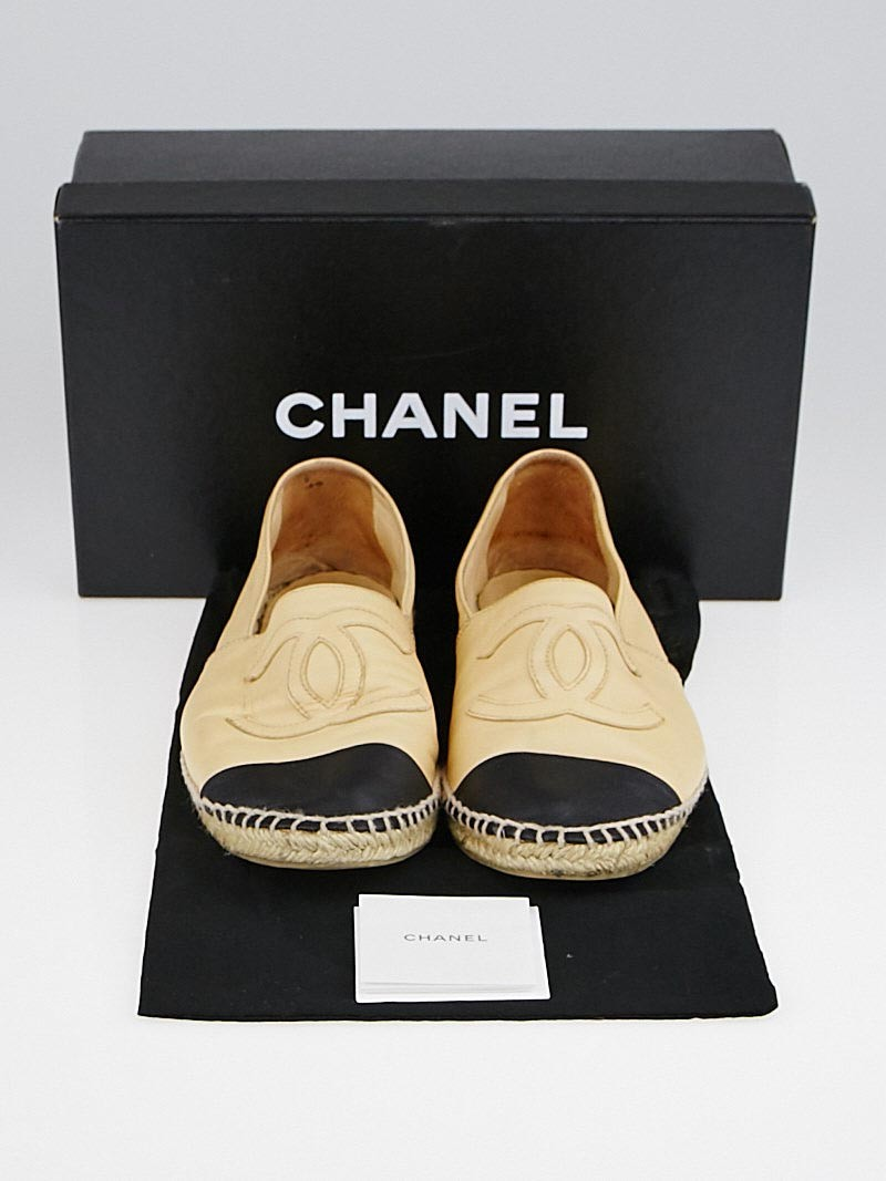 Chanel Black Ballet Flat Shoes With Cc Logo
