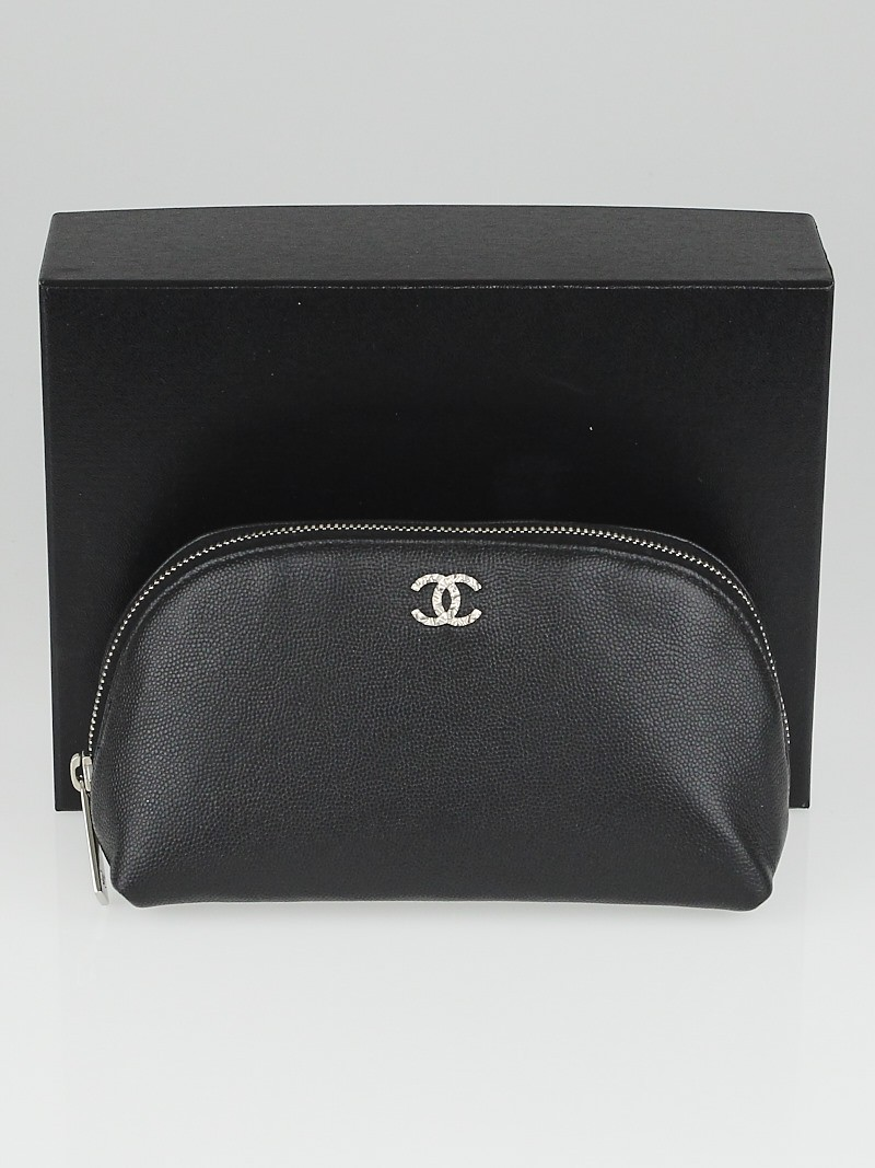 Chanel Black Pebbled Leather CC Cosmetic Bag