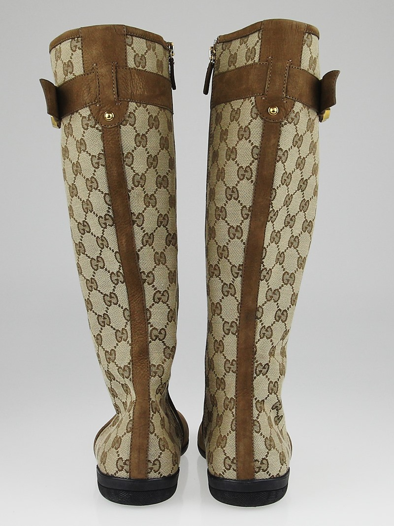 gucci beige  ebony gg canvas and suede knee-high flat boots size 7 5  38