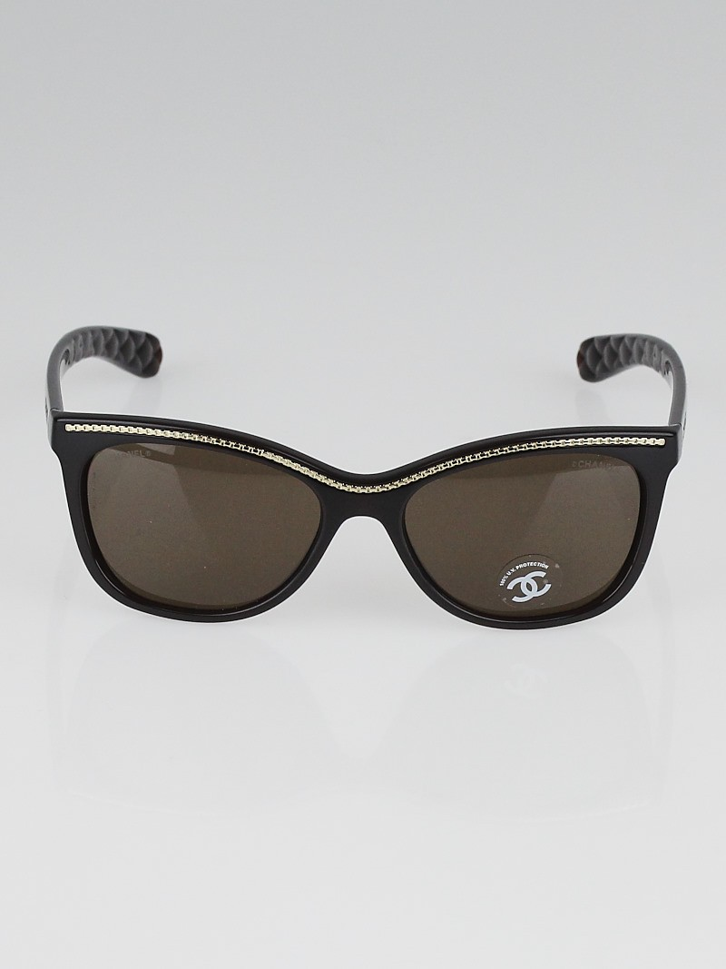 Chanel Brown Frame Cat-Eye Chain Sunglasses 6041 - Yoogis ...