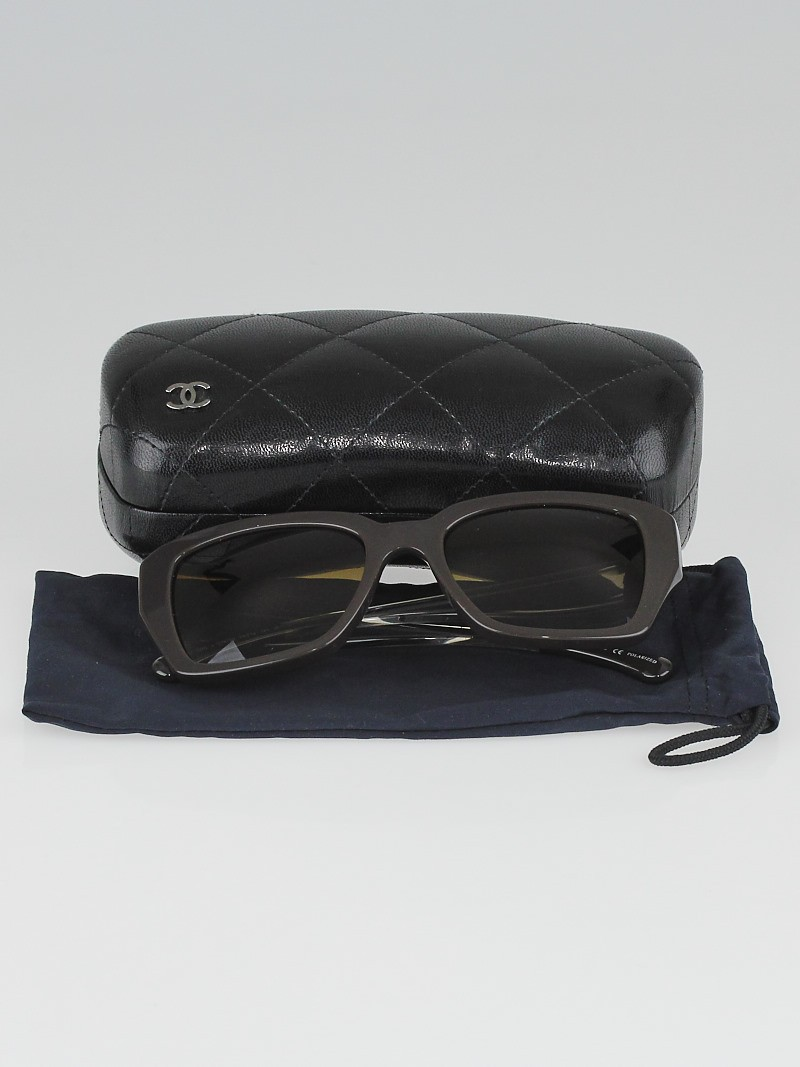 Chanel Black and Clear Square Frame Polarized Sunglasses ...