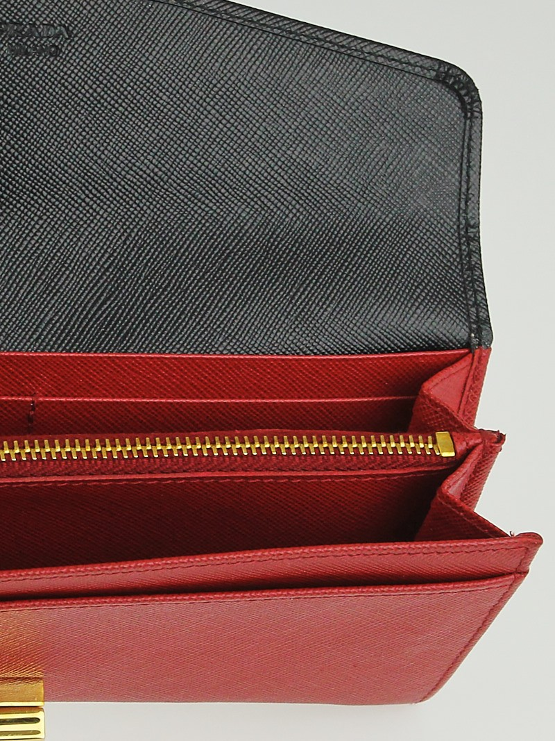 776c6709509367 Prada Saffiano Wallet Black Red | Stanford Center for Opportunity ...