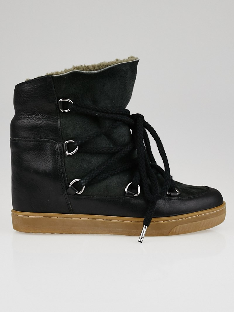 isabel marant black leather and shearling nowles ankle boots size 6 5 37 yoogi 39 s closet. Black Bedroom Furniture Sets. Home Design Ideas