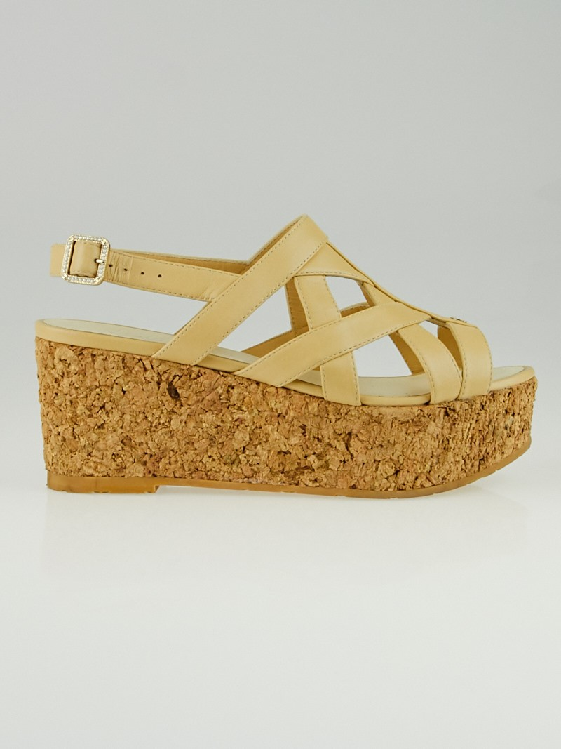 chanel beige leather and cork wedge sandals size 5 5 36