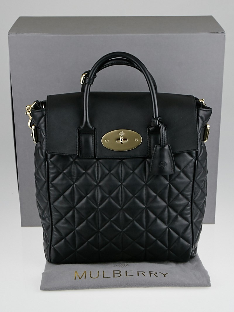 Mulberry Black Quilted Nappa Leather Cara D Large Backpack