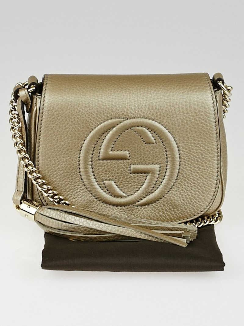 gucci gold leather soho chain shoulder bag yoogi 39 s closet. Black Bedroom Furniture Sets. Home Design Ideas
