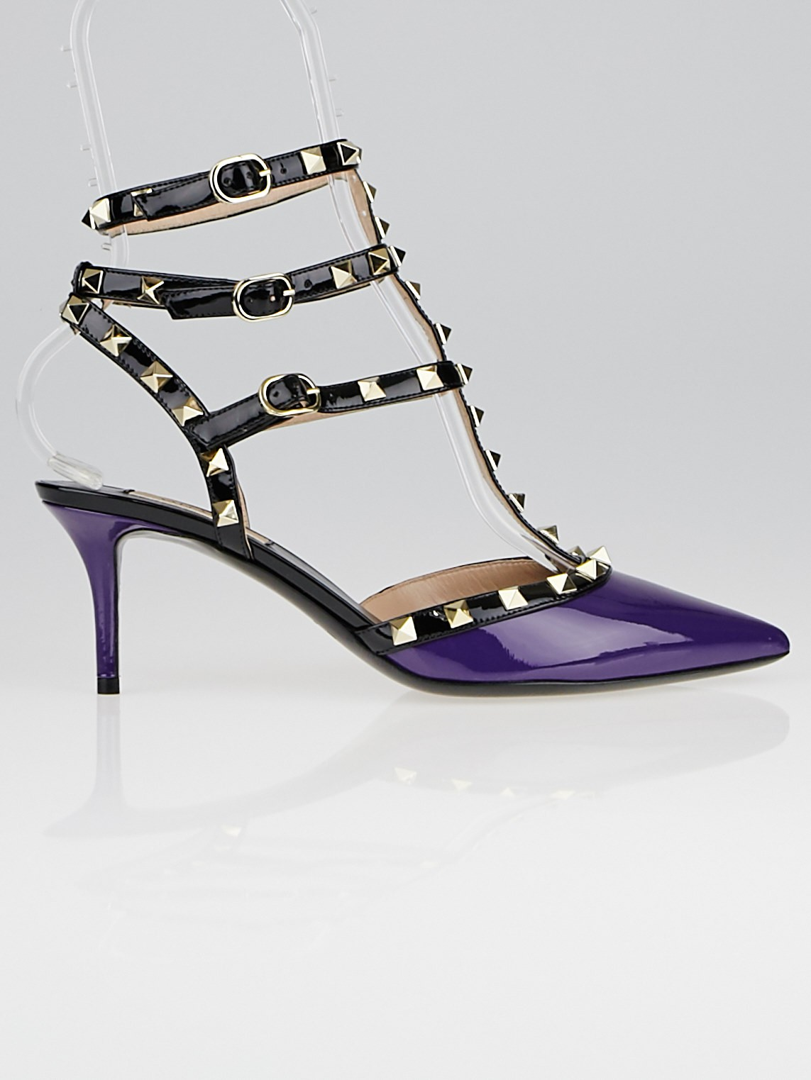 valentino purple black patent leather rockstud t strap kitten heel pumps size 8 5 39 yoogi 39 s. Black Bedroom Furniture Sets. Home Design Ideas