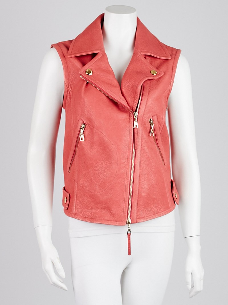 Louis Vuitton Pink Lambskin Leather Motorcycle Jacket Size ...