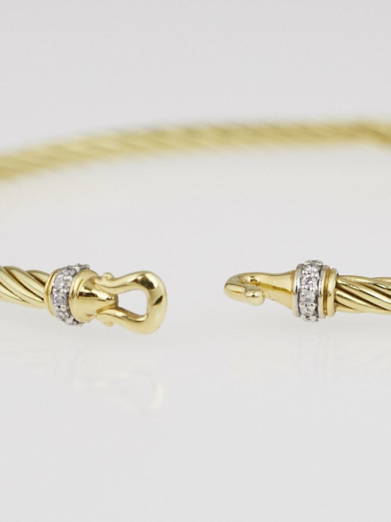 David yurman 3mm 18k yellow gold and diamonds cable buckle for David yurman like bracelets