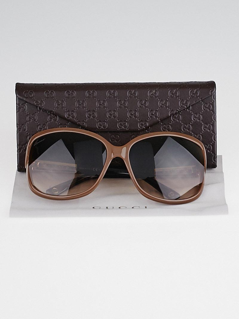 Gucci Bamboo Frame Glasses : Gucci Taupe Frame Bamboo Sunglasses-3671/S - Yoogis Closet
