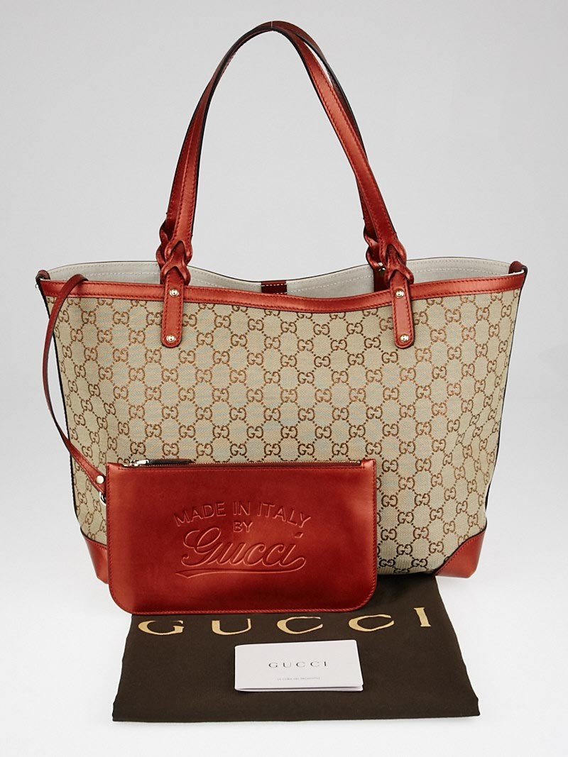 gucci beige red gg canvas craft original tote bag yoogi