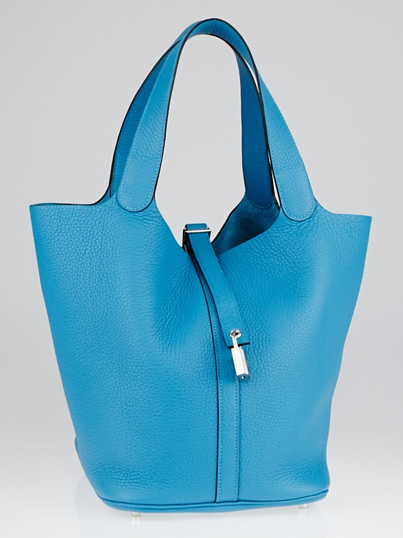 Hermes 26cm Turquoise Clemence Leather Picotin Lock GM Bag ...