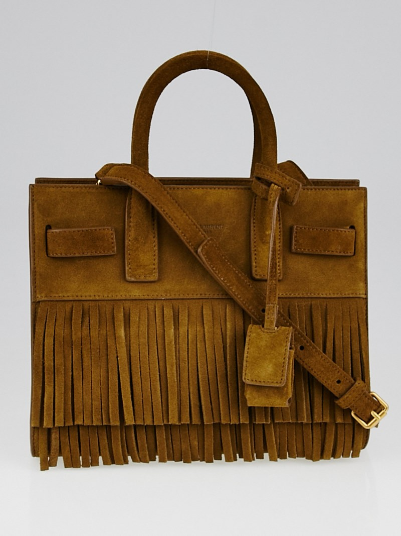 ysl logo bag - Yves Saint Laurent Brown Fringed Suede Classic Nano Sac de Jour ...