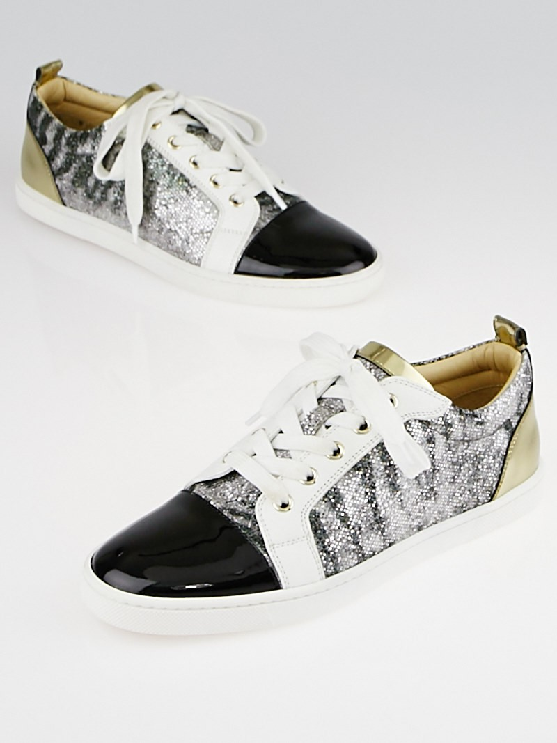 christian louboutin gondoliere patent glitter sneakers