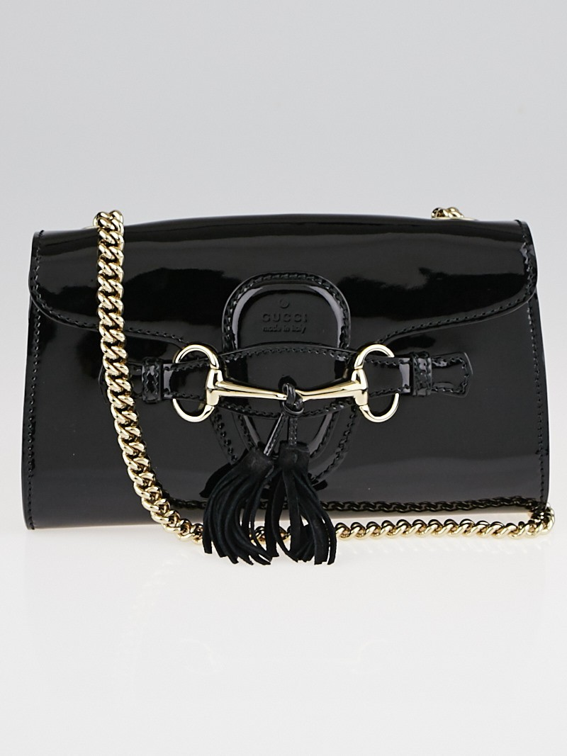 Gucci Black Patent Leather Emily Chain Small Shoulder Bag ...