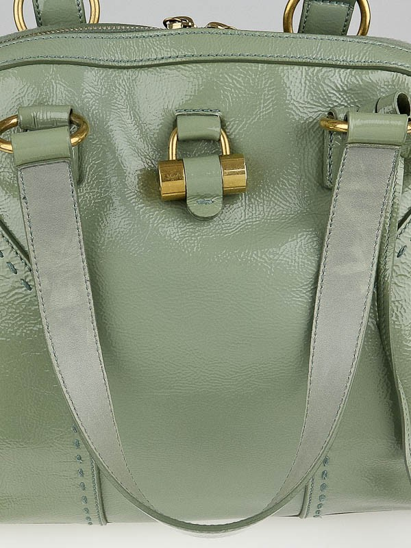ysl green patent leather travel bag