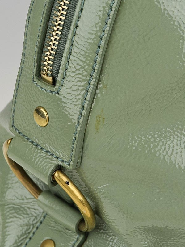 Yves Saint Laurent Light Green Patent Leather Large Muse Bag ...