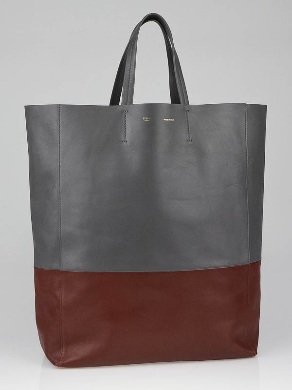 Celine Grey/Cognac Lambskin Leather Bi-Cabas Tote Bag - Yoogi\u0026#39;s Closet