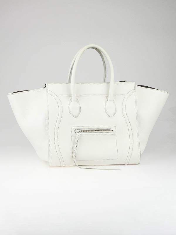 Celine White Smooth Calfskin Leather Small Phantom Luggage Tote ...