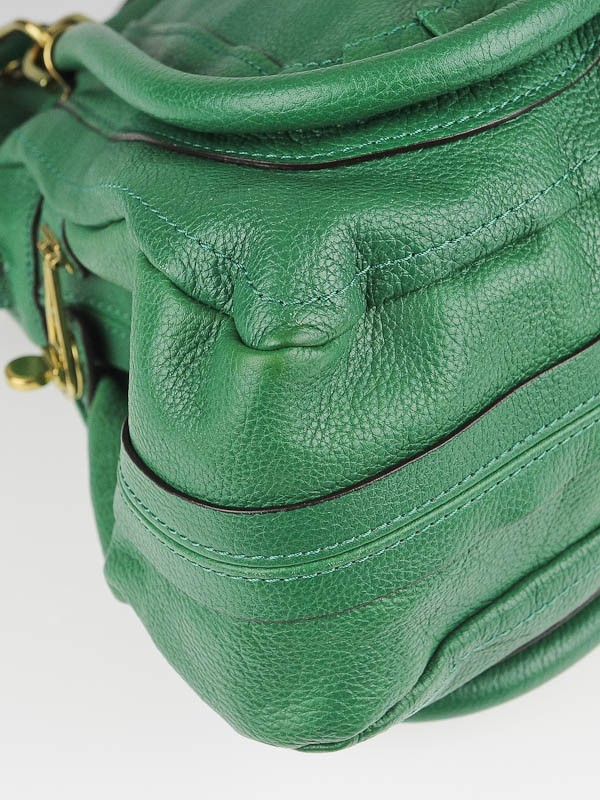 Chloe Green Calfskin Leather Large Paraty Bag - Yoogi\u0026#39;s Closet