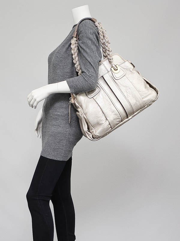 Chloe Metallic Silver Leather Heloise Satchel Bag - Yoogi\u0026#39;s Closet