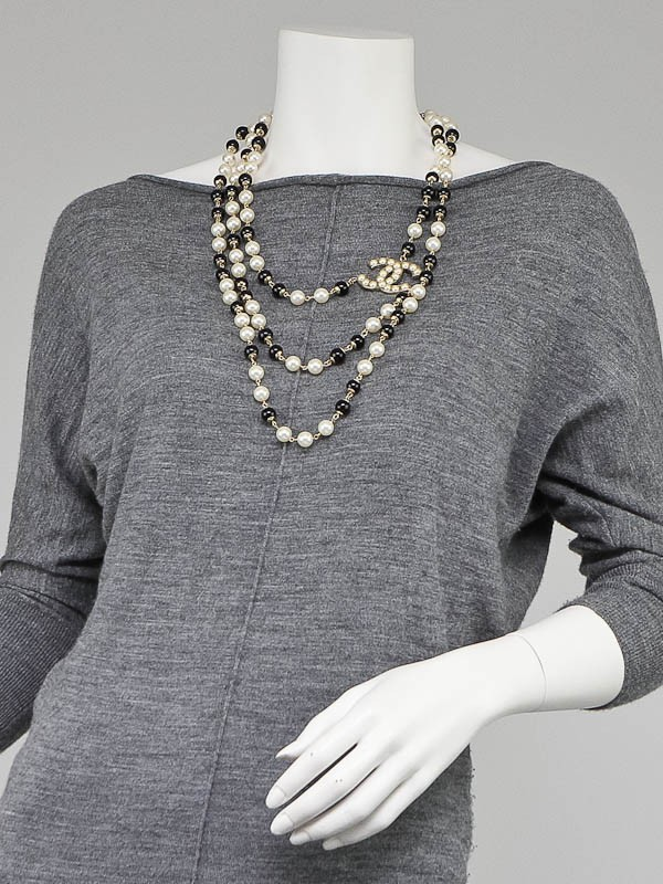 Chanel Black And White Beaded Chain Cc Long Necklace