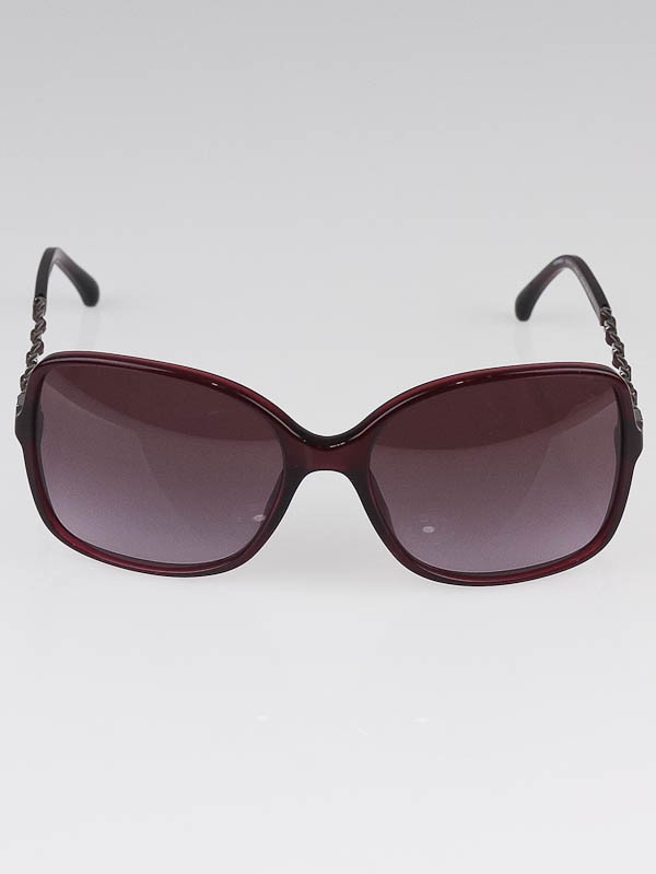 Chanel Glasses Frames Leather : Chanel Red Frame Gradient Tint Leather and Chain ...