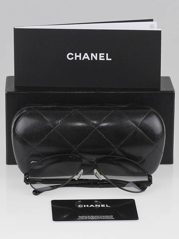 chanel black metal frame miroir collection aviator