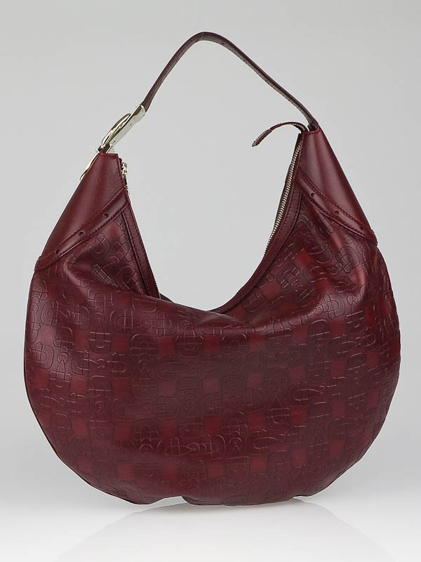 Gucci Burgundy Leather Horsebit Embossed Buckle Hobo Bag - Yoogi's ...