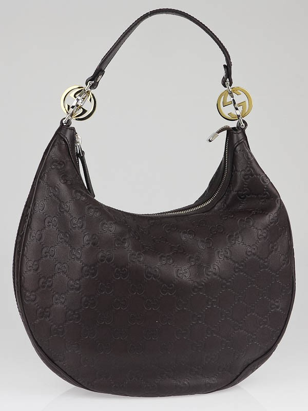 Gucci Dark Brown Guccissima Leather GG Twins Medium Hobo Bag ...