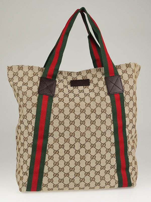 Gucci Beige/Ebony GG Canvas Vintage Web Large Tote Bag ...
