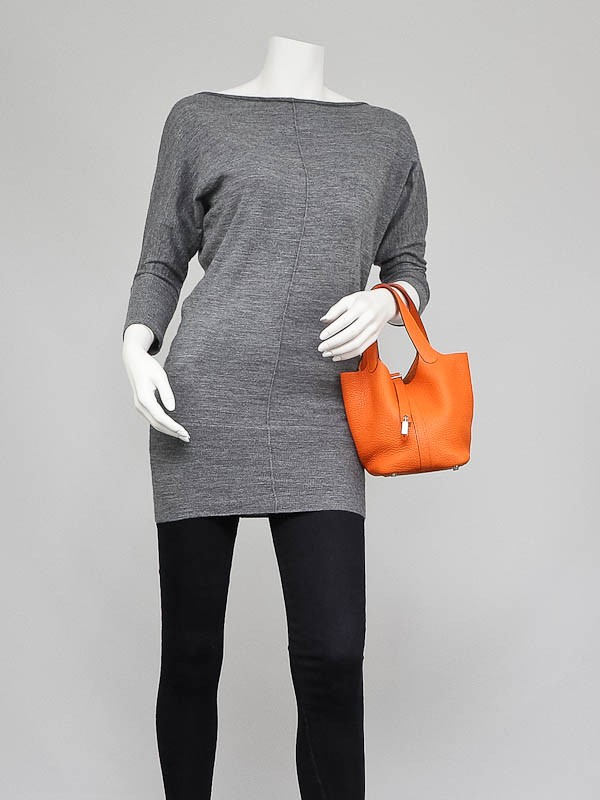inexpensive clutch bags - Hermes Orange Clemence Leather Picotin Lock PM Bag - Yoogi\u0026#39;s Closet